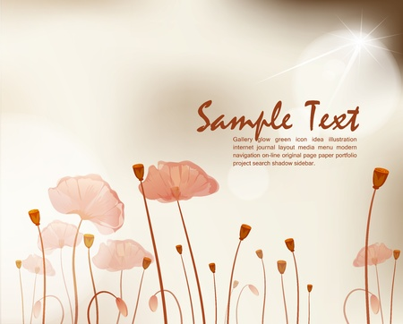 meadow flower: vector vintage background with poppies