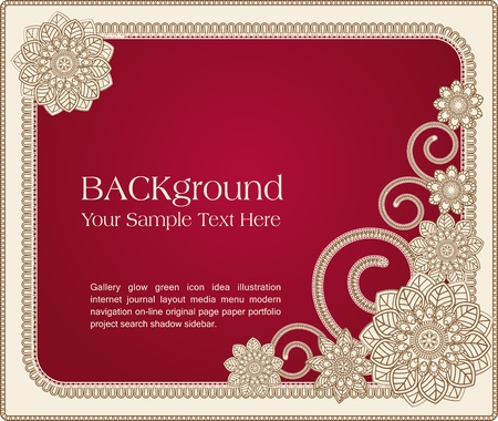 red vector  frame with floral patterns Stock Vector - 9306846