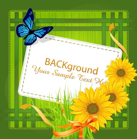 vector green background, with Sunflowers ribbons, bow and greeting card Vector