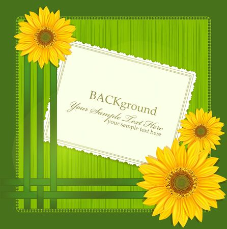 sunflower drawing: vector green background, with Sunflowers ribbons and greeting cards