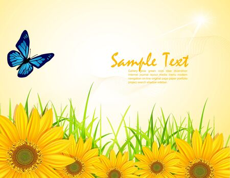 sunflower seeds: vector background with yellow sunflowers, green grass and butterflies Illustration