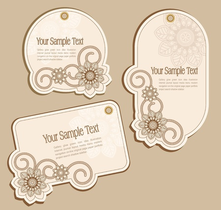 Vector Price Tags beige with floral patterns Illustration