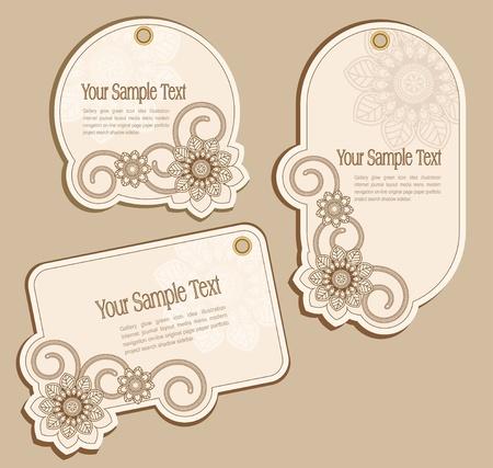 label: Vector prijskaartjes beige met bloemmotieven