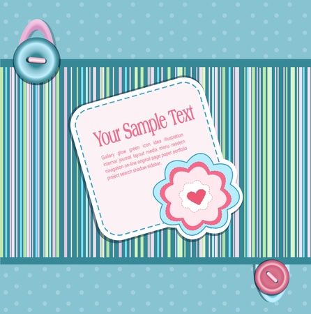 Vector striped background, with a button, card, heart and flower Vector