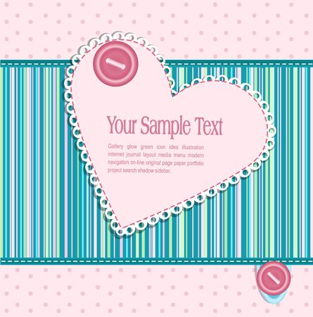 Vector striped striped background with hearts and buttons Vector