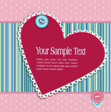 Vector striped  background with hearts and buttons Vector