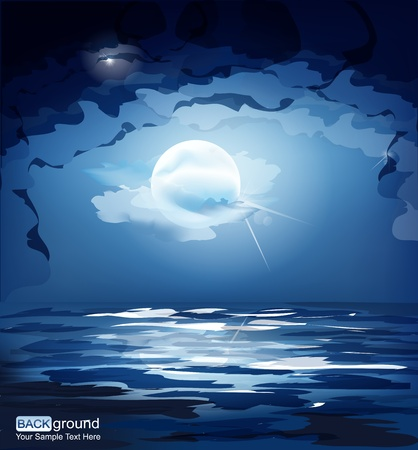 vector dark blue night sky, the moon and the sea Vector