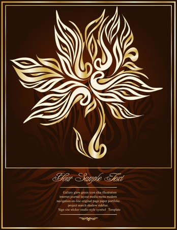 rococo style: vector gold tree in an elegant brown background with ornament