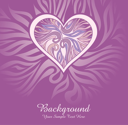 vector abstract background with heart and ornaments Stock Vector - 9410354