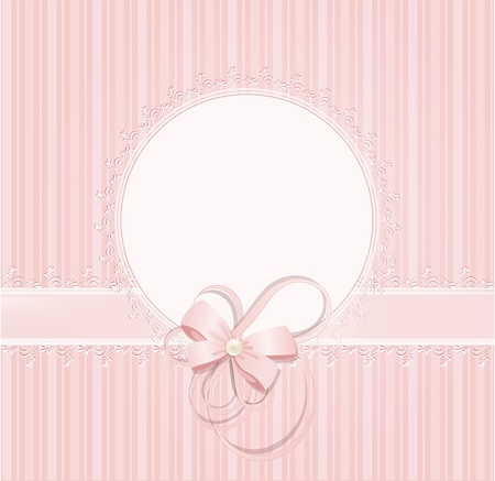 pearls: congratulation pink vector background with lace, ribbons, bows