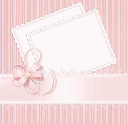 pink ribbons: congratulation pink vector background with lace, ribbons, bows