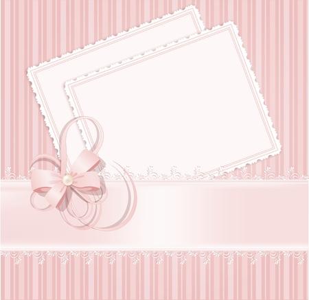 mo�os rosas: Fondo de vector Rosa de felicitaci�n con encajes, cintas, arcos Vectores