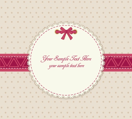 vector greeting card on a beige background with bow Illustration