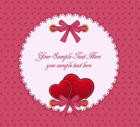 two hearts: vector greeting card on a beige background with bow, two hearts