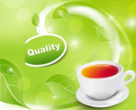 wei�er tee: Vektor wei� Teetasse mit den Bl�ttern auf einem gr�nen Hintergrund