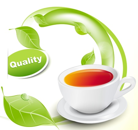 Vector white cup of tea with leaves on white-yellow background Vector