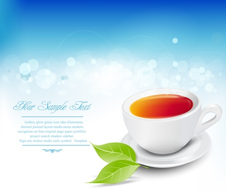 Vector white tea cup with the leaves on a blue background