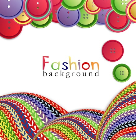knitted background: vector fashion background with ??knitting and buttons
