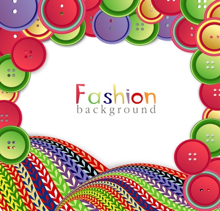 knitted: vector fashion background with ??knitting and buttons