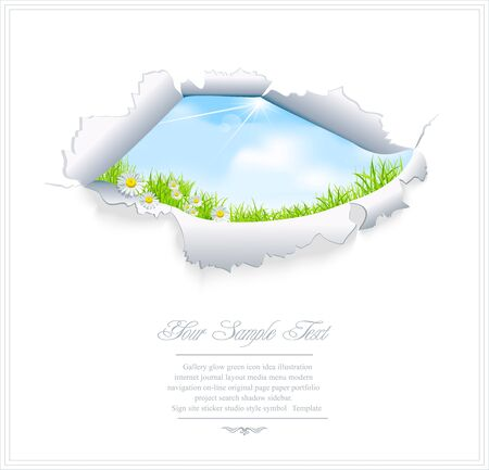 window hole: vector blue sky through the torn paper on a white background Illustration