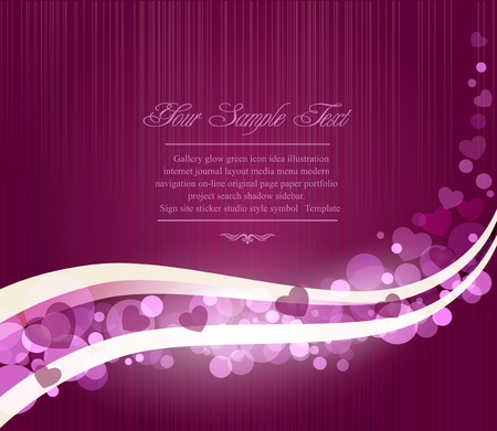 Vector romantic abstract purple background with waves and hearts Vector