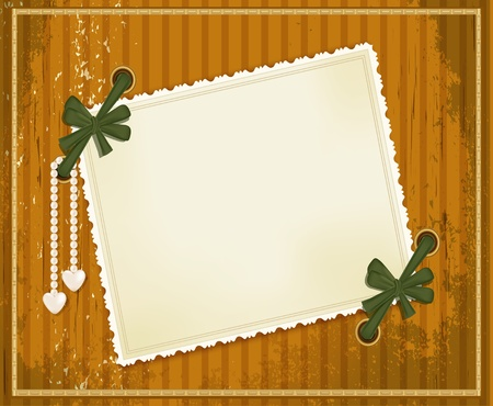 vector grunge background with a congratulatory card, bows and pearl pendant Vector