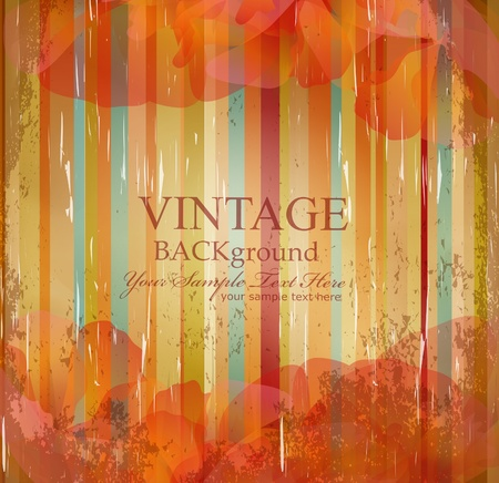vector vintage flowers on the striped grunge background Stock Vector - 9459121