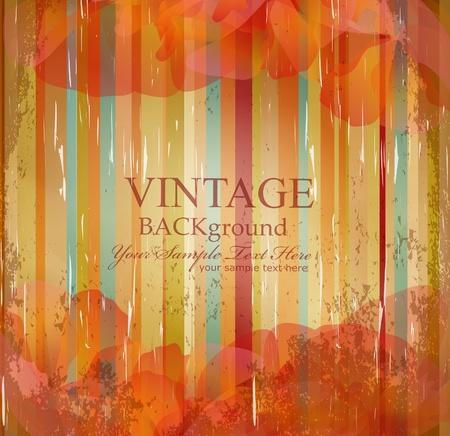 vector vintage flowers on the striped grunge background Illustration