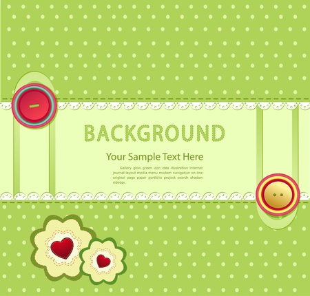 vector green background with buttons and two flowers with hearts Stock Vector - 9459112
