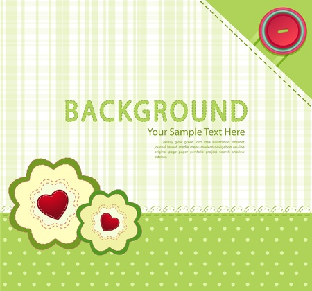 vector green background with buttons and two flowers with hearts Vector