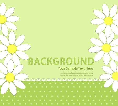 camomile flower: vector green background with daisies Illustration