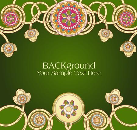 asian culture: Vector astratte modelli etnici con uno sfondo verde