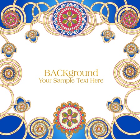 east indian: Vector abstractos patrones �tnicos con un fondo azul