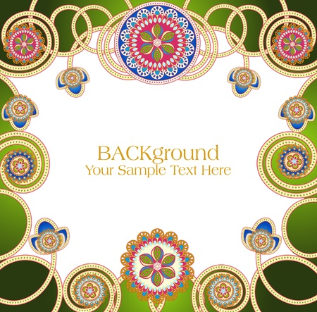 vector abstract ethnic patterns with a green background Vector