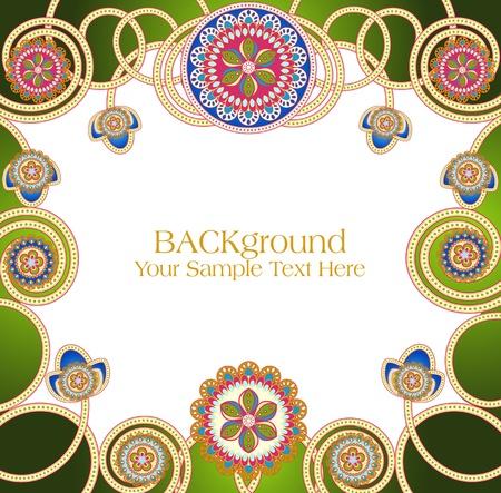 east indian: Vector abstractos patrones �tnicos con un fondo verde
