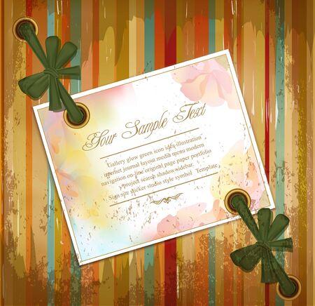 Vector grunge achtergrond met bloemen wenskaarten en linten Vector Illustratie