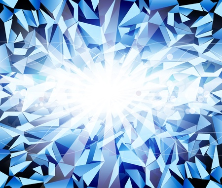 crystalline: vector ice blue  background with bright rays and blur