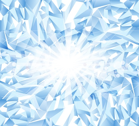 frosted glass: vector ice blue  background with bright rays and blur