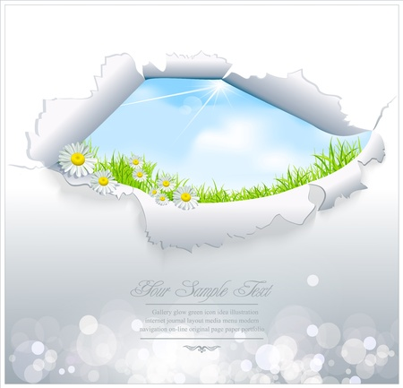broken window: vector blue sky through the torn paper on a white background Illustration