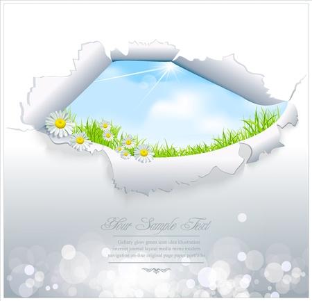 opening window: vector de cielo azul a trav�s del papel rasgado sobre un fondo blanco Vectores