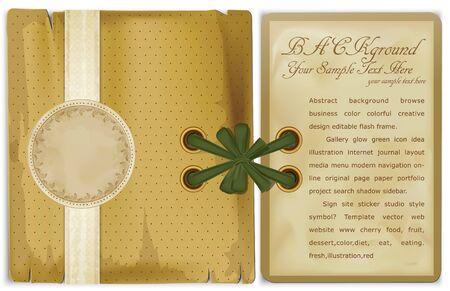 copertina libro antico: album retr� vettoriale con una scheda di congratulazioni, archi