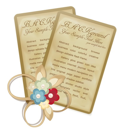 notecard: vector vintage greeting cards with flowers and ribbons