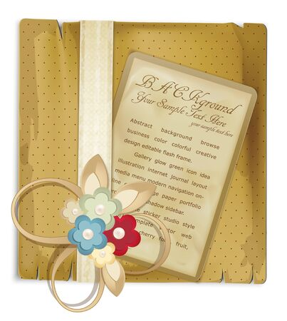 notecard: vector vintage greeting card with flowers and ribbon
