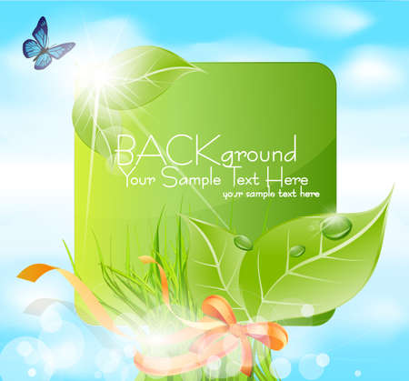 Vector spring banner with leaves, grass, ribbons against the blue sky Vector