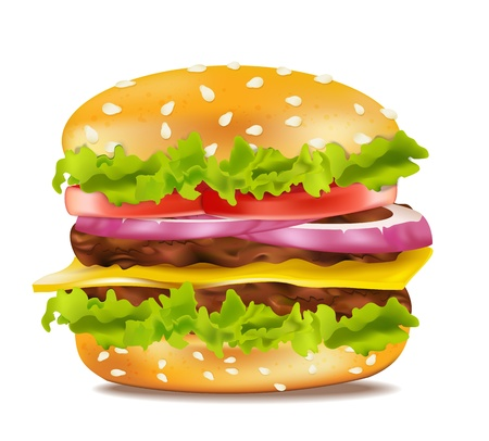 eating burger: Vector cheeseburger on a white background