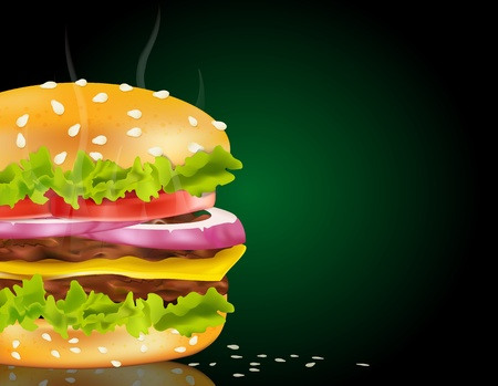 Vector steaming cheeseburger on a green background and scattered with sesame seeds Vector