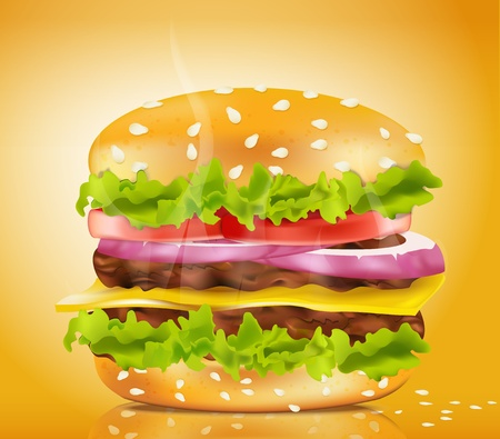 Vector steaming cheeseburger on a yellow background