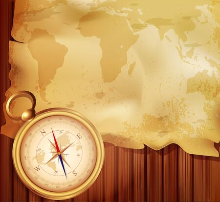 guidance: old map with a compass on a wooden background Illustration