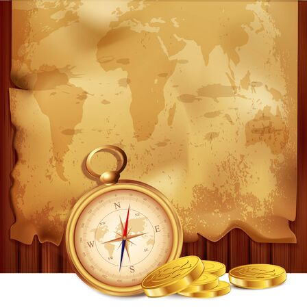 old map with a compass and pirate coins on a wooden background Vector