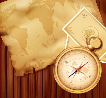 geografia: viejo mapa con una brújula y cartas sobre un fondo de madera